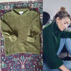90s Olive Green Collared Velour Sweater